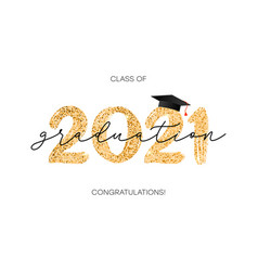 Class 2021 graduation with gold glitter vector
