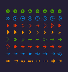 colored web arrows infographic symbols vector image