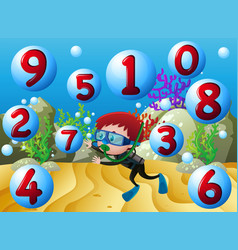 Counting numbers with boy diving underwater vector