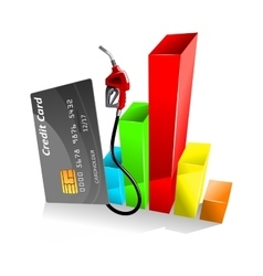 Credit card with decreasing chart vector image
