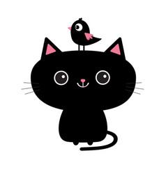 Cute black cat icon bird sitting on head face vector
