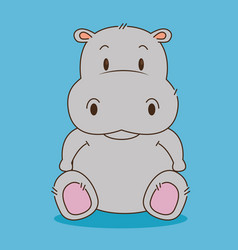 Cute little hippo character vector