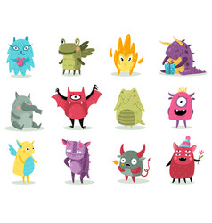 Cute monsters funny fabulous incredible creatures vector
