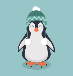 cute penguin with wool hat vector image