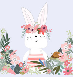 cute rabbit bunny in flower garden cartoon vector image