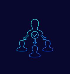 Delegate task delegation icon linear vector