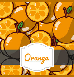 delicious orange fresh fruit label pattern vector image
