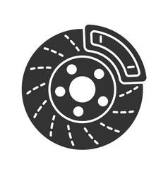 Disc brake with caliper glyph icon vector