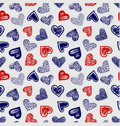 doodle ballpoint pen drawing hearts seamless vector image