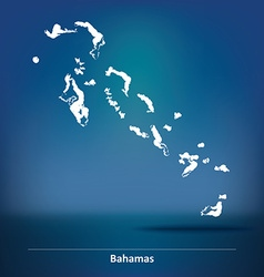 Doodle Map of Bahamas vector image