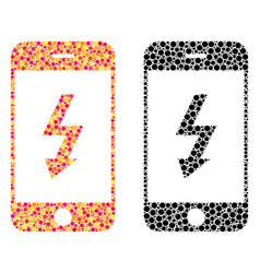 Dotted electric smartphone mosaic icons vector