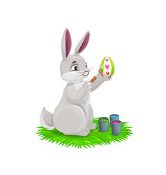 easter cartoon bunny painting egg vector image