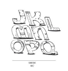 English hand drawn funky font from j to q vector
