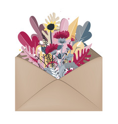 Envelope with autumn bouquet inside hello autumn vector