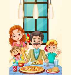 Family having pizza for dinner vector