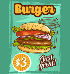 Fast food burger fastfood sketch poster vector