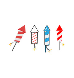 firecracker icon set design template isolated vector image
