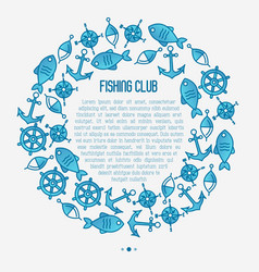 Fishing club concept in circle with fish bobber vector