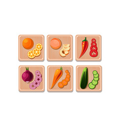 flat set of vegetables and fruits with vector image