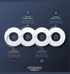Four circular paper white elements successively vector