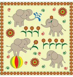 Four cute babies elephants vector