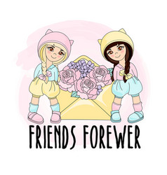 Friends forever greeting card vector