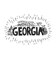 Georgia sketch with lettering vector
