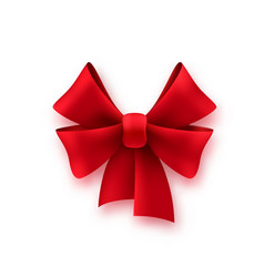 gift silk red bow shiny textile decoration vector image