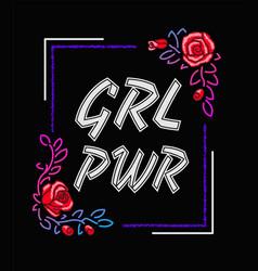 Girl power - feminism slogan rock print vector