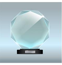 glass trophy award award on gray vector image