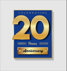 Gold and blue anniversary banner collection 20 vector