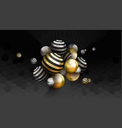 golden spheres abstract background luxury vector image