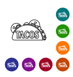 Grey taco with tortilla line icon isolated on vector