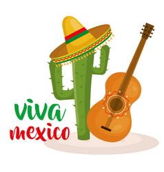 Guitar and cactus mexican culture vector