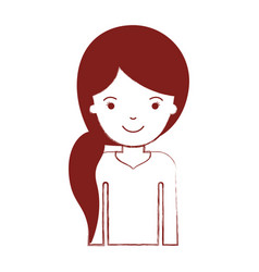 half body woman with pigtail hairstyle in dark red vector image