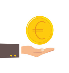 Hand holding euro coin offer euro coin flat vector