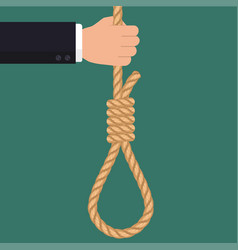 Hand with rope hanging loop businessman suicide vector