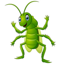 Happy grasshopper cartoon waving hand vector