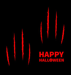 Happy halloween pumpkin text two red bloody claws vector