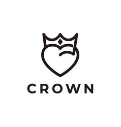 Heart crown logo design icon vector