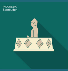 indonesian borobudur ancient temple flat icon vector image