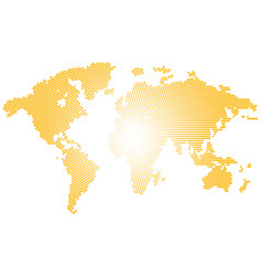 isolated yellow color worldmap of dots on white vector image