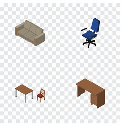 Isometric furnishing set of couch table chair vector