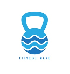 Kettlebell and wave concept design template vector