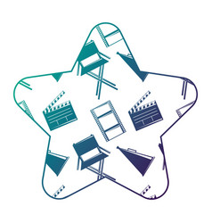 label star with film movie chair megaphone and vector image