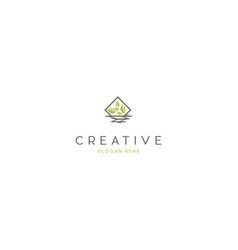 leaf naturally ecology logo creative design graphi vector image