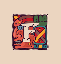 Letter f logo in aztec mayan or incas style vector