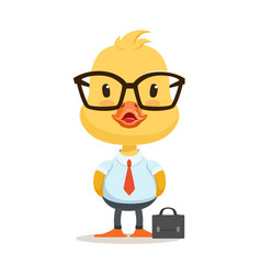 little cartoon duckling character wearing as vector image