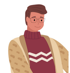 man posing in warm clothes sweater and cardigan vector image