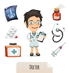 medical set with a female doctor vector image